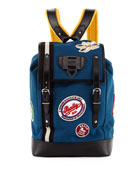 Alpina Men's Canvas Backpack with Patches, Slate