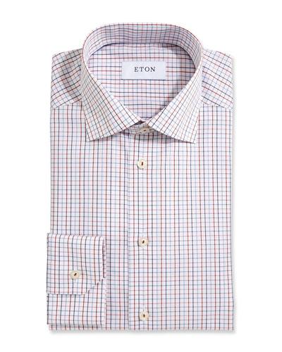 Tattersall Dress Shirt, White/Red/Navy