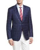 Double-Windowpane Wool Two-Button Sport Coat, Navy