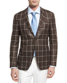 Windowpane Silk-Wool Two-Button Sport Coat, Brown