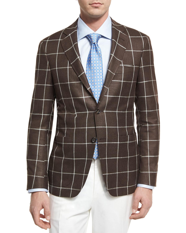 Windowpane Silk-Wool Two-Button Sport Coat, Brown