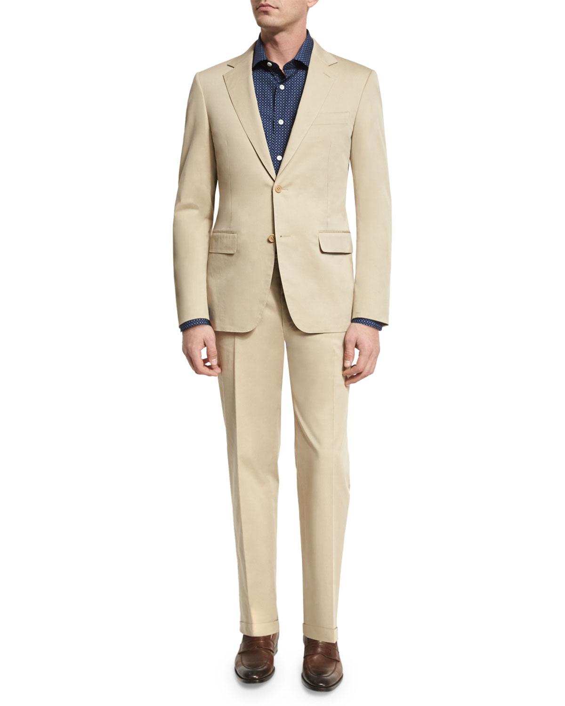 Solid Stretch-Cotton Two-Piece Suit, Khaki