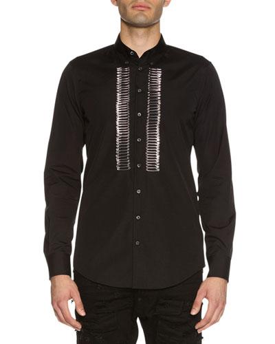 Safety-Pin Bib Woven Shirt, Black