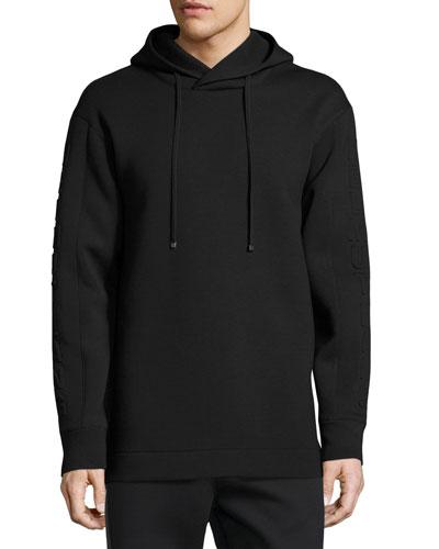 3D Logo Side-Zip Neoprene Hoodie, Black