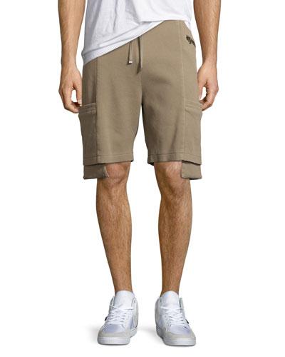 Exposed-Pocket Shorts, Tan