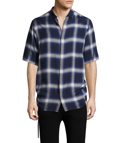 Plaid Drawcord Short-Sleeve Sport Shirt, Blue