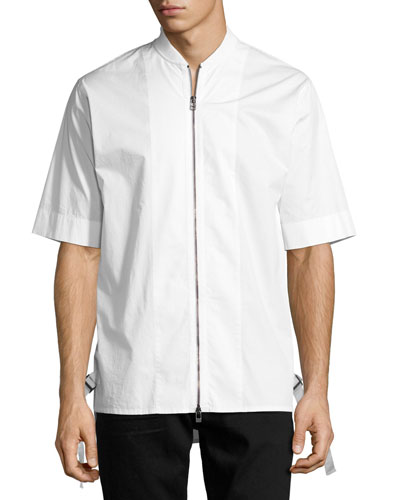 Zip-Front Baseball-Collar Short-Sleeve Shirt, White