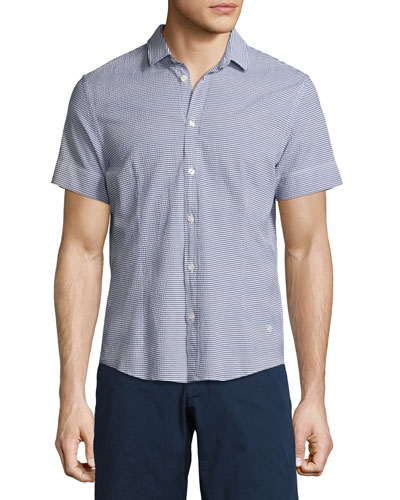 Morton Striped Seersucker Short-Sleeve Sport Shirt, Navy