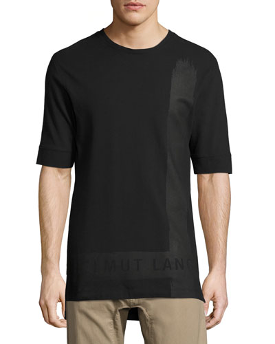 Brushstroke Long-Line Logo T-Shirt, Black
