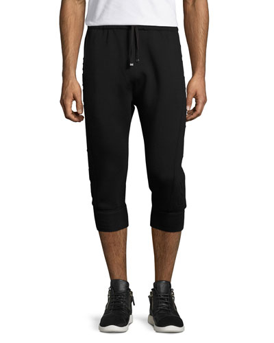 3D Logo Cropped Jogger Pants, Black