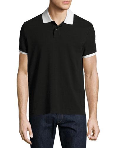 Contrast-Trim Polo Shirt, Black