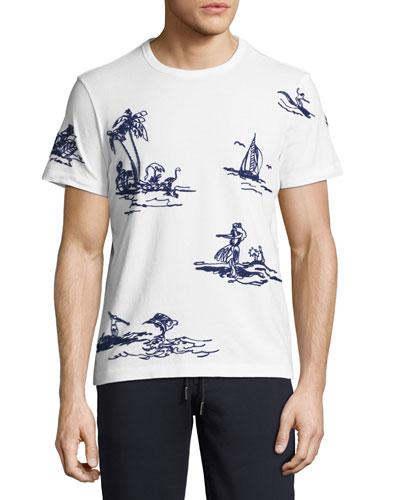 Embroidered Hawaiian T-Shirt, White