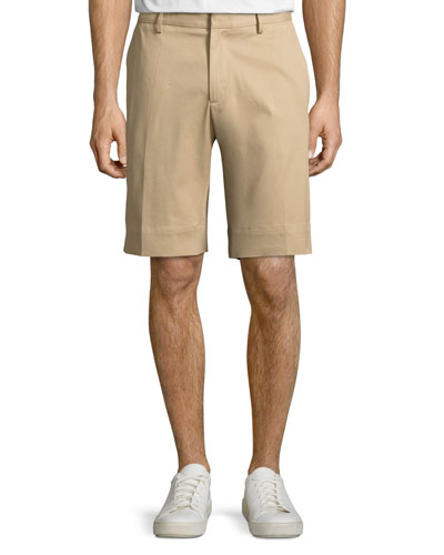 Track-Stripe Twill Shorts, Khaki