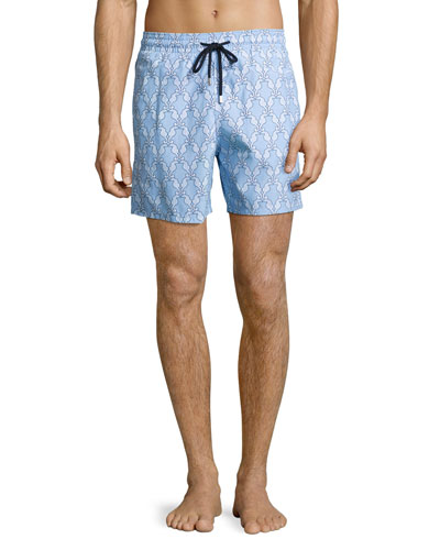 Moorea Diamond Seahorse Swim Trunks, Sky