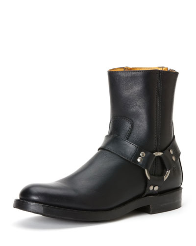 Clinton Leather Harness Boot, Black