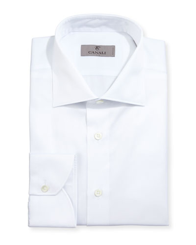 Modern-Fit Twill Dress Shirt, White