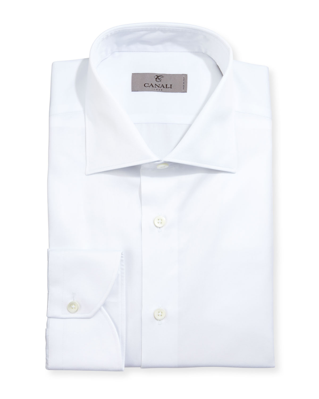 Modern-Fit Twill Dress Shirt, White