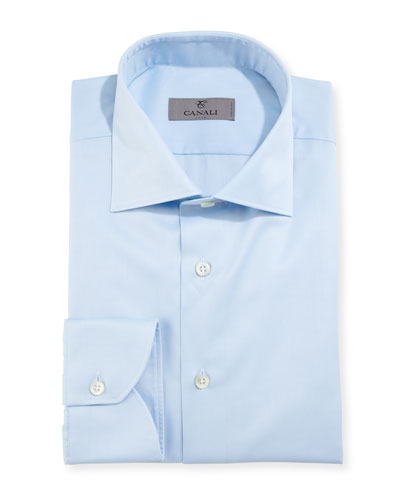 Modern-Fit Twill Dress Shirt, Light Blue