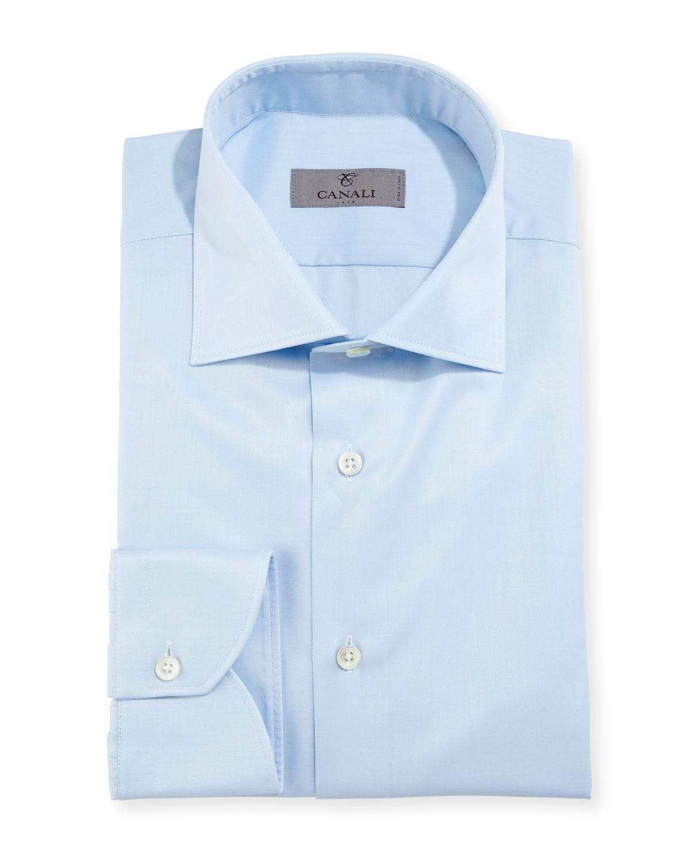 Modern-Fit Twill Dress Shirt, Light Blue