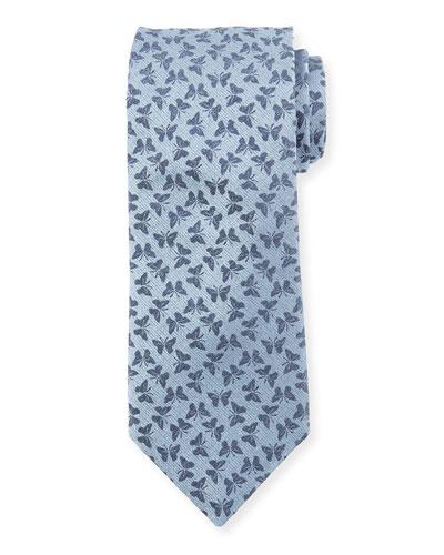 Butterfly Silk Tie, Light Blue
