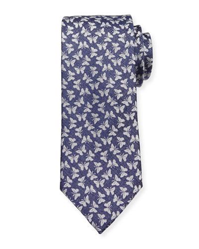 Woven Butterfly Silk Tie, Navy