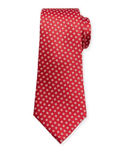Woven Micro-Daisy Silk Tie, Red