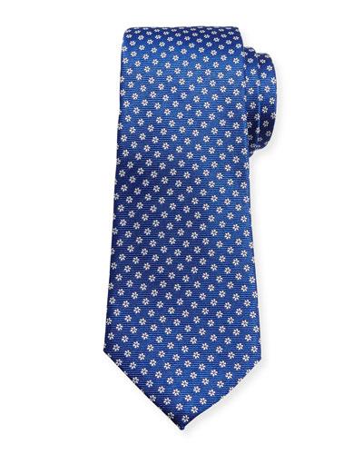 Woven Micro-Daisy Silk Tie, Blue