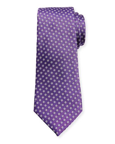 Woven Micro-Daisy Silk Tie, Purple