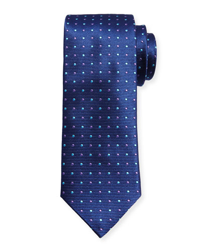 Alternating Dots Silk Tie, Navy