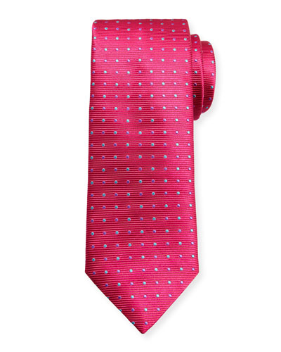 Alternating Dots Silk Tie, Pink