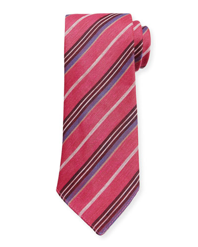 Striped Linen-Silk Tie, Pink