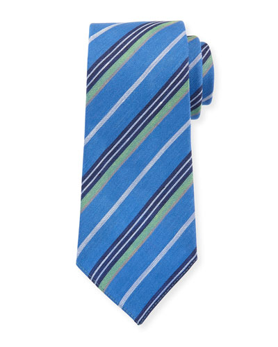 Diagonal Stripe Linen-Silk Tie, Blue