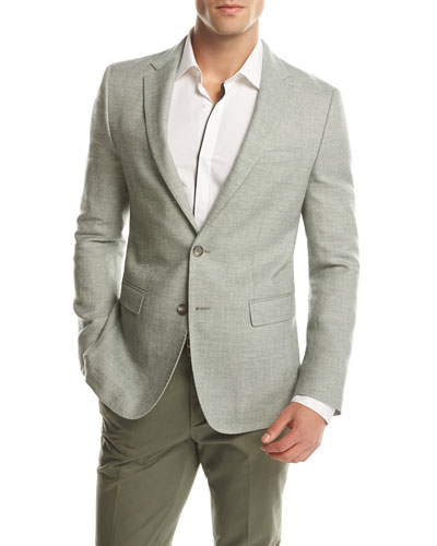 Melange Slim-Fit Sport Coat, Green