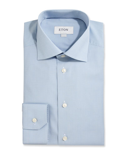 Slim-Fit Textured Check Dress Shirt, Light Blue