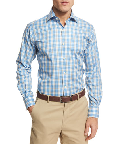 Island Plaid Sport Shirt, Blue