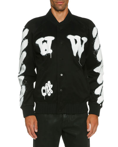 Spray-Paint Logo Varsity Jacket, Black