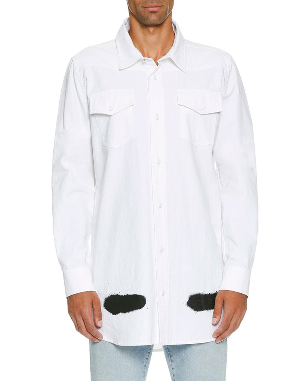 Spray-Paint Logo Utility Shirt, White