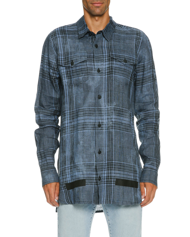 Faded Plaid Linen Button-Front Shirt, Blue