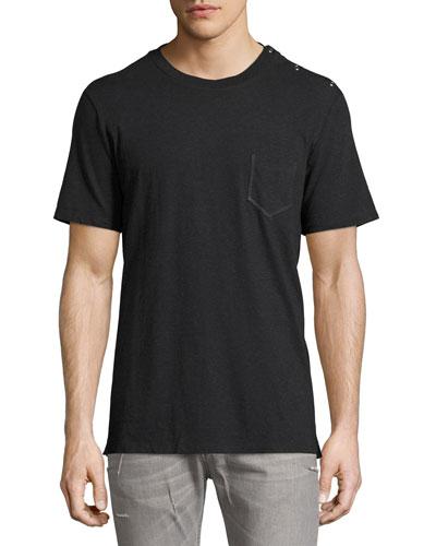 Snap-Side Jersey Pocket T-Shirt, Dark Gray