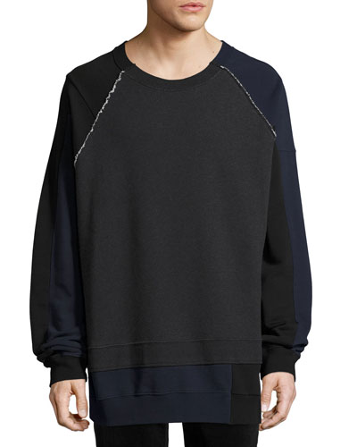 Mélange Colorblock Sweatshirt, Dark Gray