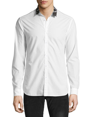 Woven Shirt with Snakeskin-Print Collar, White