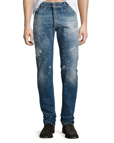 Destroyed Straight-Leg Jeans, Blue