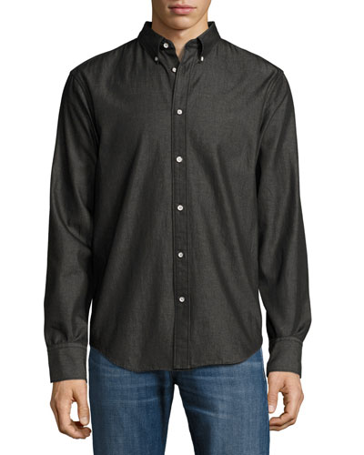 Yokohama Slim-Fit Flannel Shirt, Black