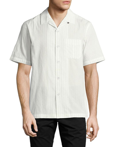 Glenn Short-Sleeve Cotton Bowling Shirt, White