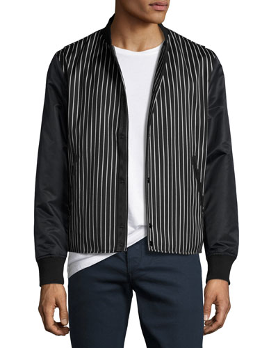 Irving Striped Bomber Jacket with Leather Sleeves, Black/White