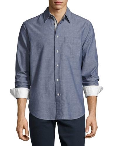 Beach Button-Front Shirt, Blue/Navy