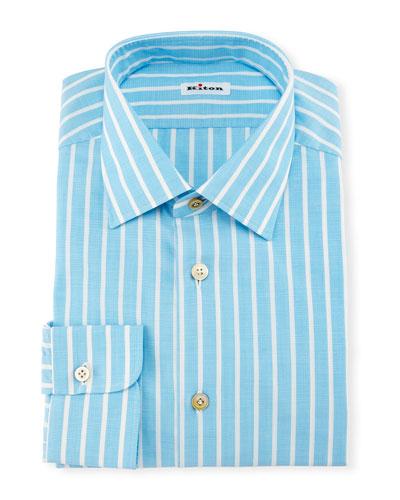 Bold-Stripe Dress Shirt, Aqua/White