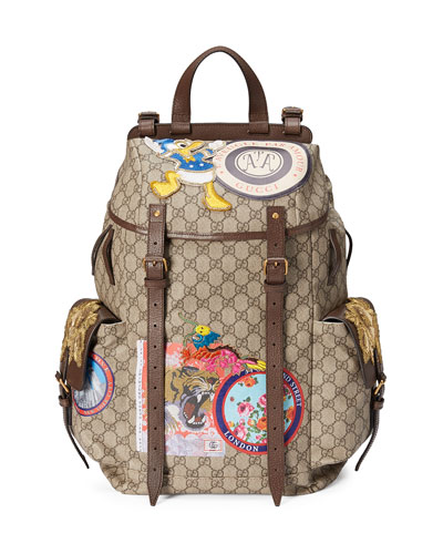 Soft GG Supreme Backpack with Patches, Beige
