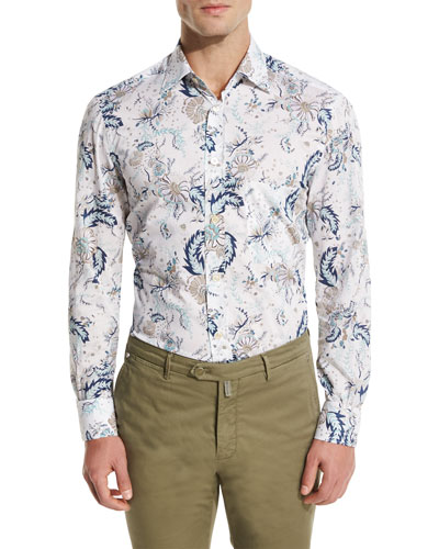 Floral-Print Oxford Sport Shirt, White