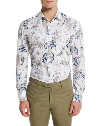 Floral-Print Oxford Sport Shirt, White